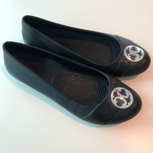 Crocs brand flats with silver embellishment